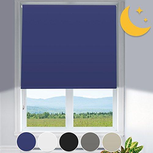 Mammut Verdunkelungsrollo mit Hitzeschutz | lichtundurchlässig | Klemmfix ohne Bohren | Fensterrollo in Blau | Rollo für Fenster in vielen Größen (80 cm breit und 150 cm lang)