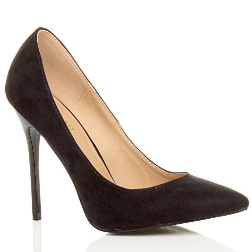 Mantida Altos Estiletes De Camurça Altos De Trabalho Saltos Preta Bombas Pontudos Sapatos Senhoras Vendas Contraste Mais Fesch q1vvxw