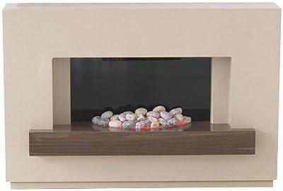 The Adam Sambro Travertine Effect Surround with Black Glass Back Panel and Walnut Veneer Shelf