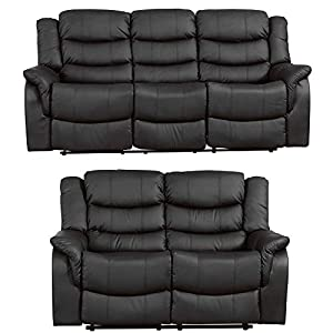 Sofa- Collection Andalucia Leather Reclining Suite – 1/2/3 seat recliners available in multiple combinations – Black…