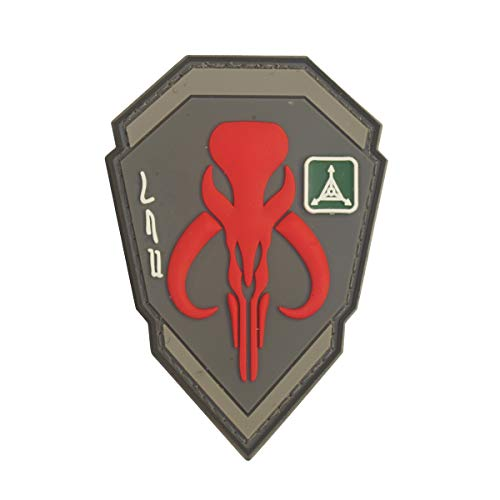 Cobra Tactical Solutions Military PVC Patch Kopfgeldjäger Boba Fett Mandalorian Bantha Schädel Rot mit Klettverschluss für Airsoft/Paintball für Taktische Kleidung/Rucksack (Bantha Kostüm)