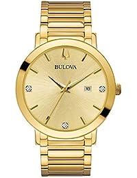 Bulova Men's Modern Collection Goldtone Stainless Bracelet Watch with Diamond Aceents