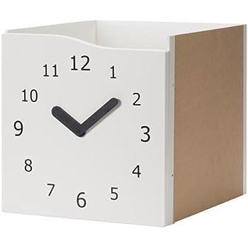 ikea kallax einsatz mit t r in wei uhr 33x33cm. Black Bedroom Furniture Sets. Home Design Ideas