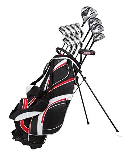 18-teiliges komplettes Herren-Golfschläger-Set mit Titanium-Driver, Fairway-Holz Nr. 3 und Nr. 5, Hybrid Nr. 4, 5-SW-Eisen, Putter, Standtasche, 4H/Cs-wählen Sie Farbe und Größe, rot, Right Hand