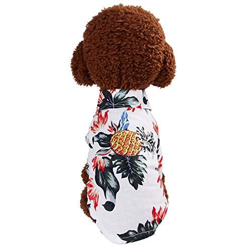 Shirt Tops Sommer Hawaii Style Kostüm Ananas Muster gedruckt Bluse Kleidung für Hund Katze(XL,White) ()