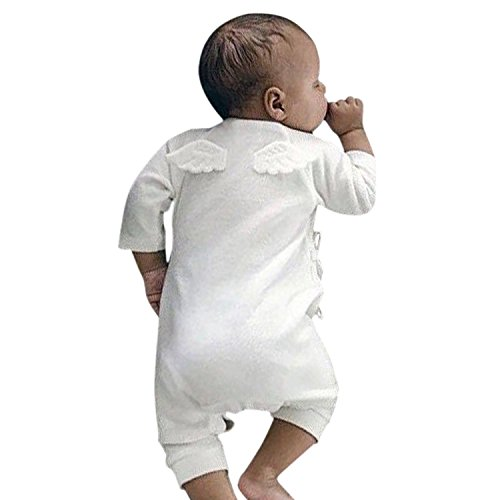 Weißen Kostüm Mit Kontakte - YASSON Baby Schlafstrampler Unisex Neugeborene Baumwolle Langarm Overall Baby Jungen Mädchen Spielanzug Flügel Jumpsuit Engelsflügel Kostüm