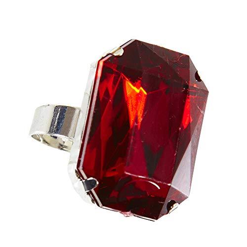 Widmann 05853 Ring mit Stein, Unisex- Erwachsene, Rot, (Iron Mann Kostüm Accessoires)