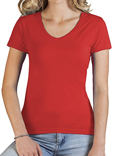 Damen Slim Fit V T-Shirt Feuerrot