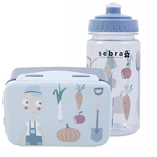 Sebra Outdoor Geschirr-Set Brotdose mit Trinkflasche Farm, Junge BPA-frei NEU Mais-pick-set