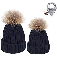 DOTBUY Maman et bébé à Tricoter Bonnet Hiver Chapeau Tricoté Beanie Hats,  2PC Doux Chapeau 6266f00848a