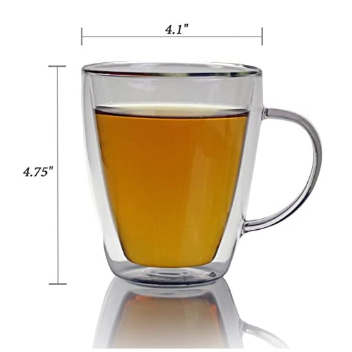 Double Walled Glass Coffee Mugs 500ml, Set of 2, Insulated Glass Cups for Morning Hot Coffee, Tea or Cold Drinks