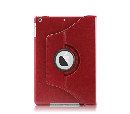 KHOMO PU-Leder 360Grad Drehbar Ständer Schutzhülle mit magnetischer Smart Cover für Neue Apple iPad Air, Rot -