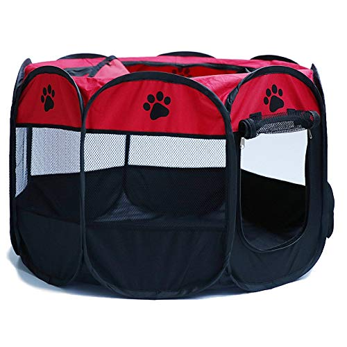 SODIAL Tragbarer Zusammenklappbarer Achteckiger Haustier Zaun 600D Oxford Stoff Wasserdichtes, Kratzfestes Hunde Zelt Haustier Im Freien Abnehmbares Mesh Sonnen Schutz Rot