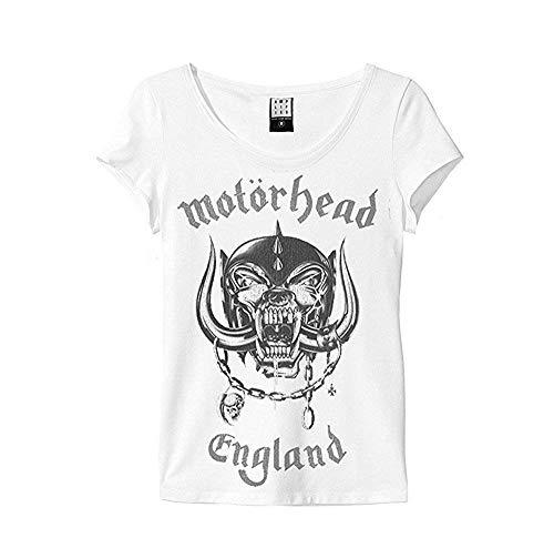 Amplified - Motörhead Damen T-Shirt - England Logo (Weiss) (S-XL) (L) (Cap Deluxe Skull)