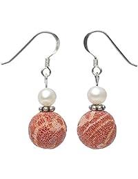Ohrringe Ohrhänger aus Koralle Schaumkoralle mit Poren & Perlen 925 Silber