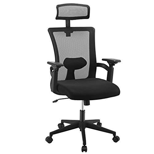 Langria sedia da scrivania con schienale alto e poggiatesta, realizzata in maglia traspirante e design ergonomico, sedile regolabile in altezza e peso massimo di 102 kg (nero)