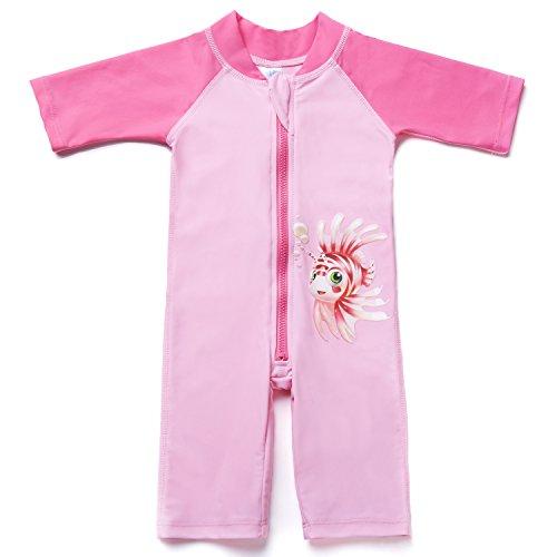 CharmLeaks Baby - Einteiler Halbarm Badeanzug für Säugling Kinder Fisch Druck UV-Schutz 50+ Rosa 0-6 Monate