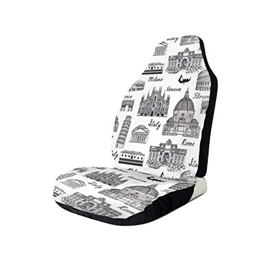 MIOMIOK Seat Covers Vehicle Protector Car Mat, Monochrome Sketch Style Famous Places from Italy Rome Milano European Architecture,Fit Most Cars, Sedan, Truck, SUV,2pcs