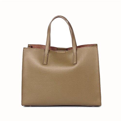 Xuanbao memoria femminile delle donne borsa a mano in pelle semplice borsa a spalla in massa borse a tracolla borsa a tracolla totes (colore : cachi)
