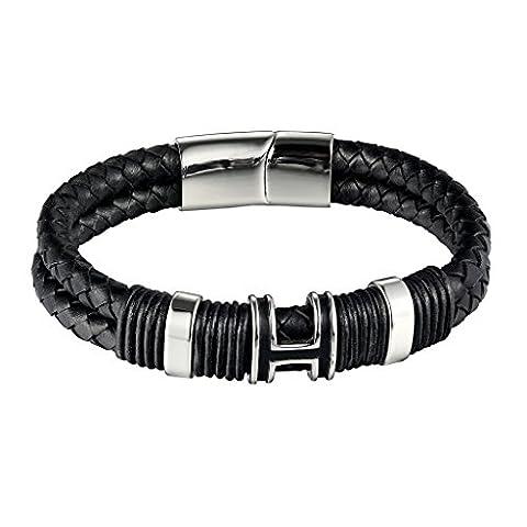 AieniD Homme Cuir Bracelet Marron Long Punk Bracelet Cuir pour Homme,23.1CM