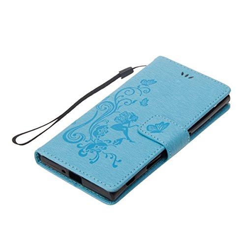 ISAKEN Custodia per Sony Xperia XZ con Strap, Elegante borsa Tinta Unita Farfalla Design in Sintetica Ecopelle PU Pelle Protettiva Portafoglio Flip Case Cover con Supporto di Stand / Carte Slot / Chiu Fata ragazza: blu