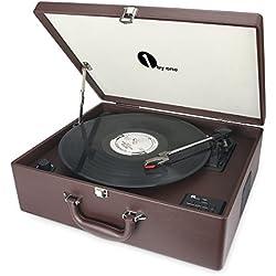 1byone Maletín tocadiscos de 3 velocidades con altavoces incorporados, grabador de vinilo a MP3, USB reproductor MP3, bluetooth, entrada AUX y RCA, Marrón