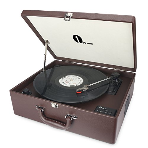 1byone Maletín tocadiscos de 3 velocidades con altavoces incorporados, grabador...