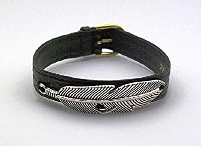 "Bracelet cuir noir""feather"" collection Wanted"