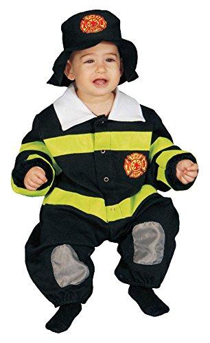 Dress Up America 297-0-9 - Baby-Feuerwehr-Kostüm Set, 0-9 Monate, Taille 74 cm, Größe 69 cm, gelb
