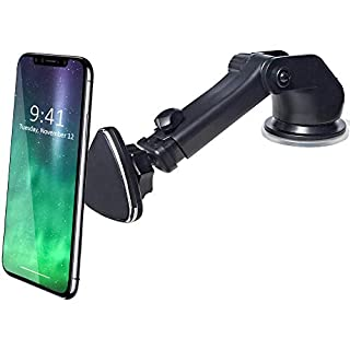 Magnetic Phone Holder, CRage Mobile Phone Stand Mount Holder for Car Windscreen Dashboard, Strong Magnet Extendable Long Arm 360 rotation for iPhone X 8 7 6s Plus 5s Galaxy S8 Plus S7 S6 Edge (Black)
