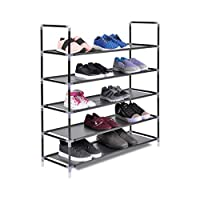 The Hanger Store 5 Tier Shelf Shoe Storage Rack Organiser Stand in Black for 25 pairs of shoes. 88 x 30 x 91cm