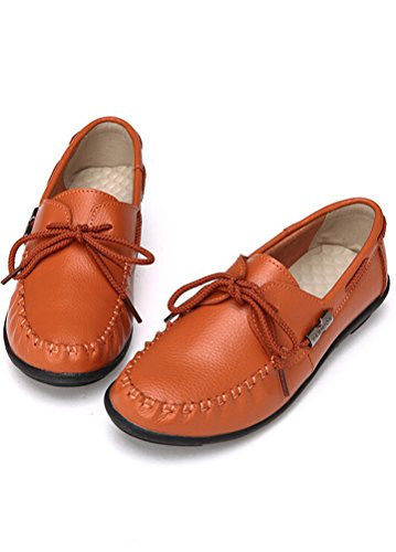MatchLife Femme Cuir Lacets up Plates Chaussures Orange