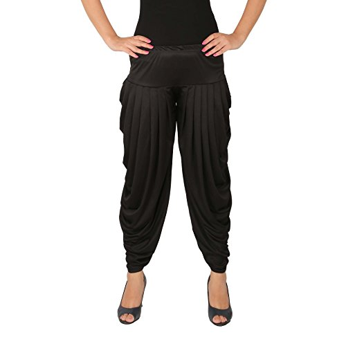 Culture the Dignity Women's Lycra Side Pleated Harem Pant Dhoti Patiala Salwar Aladdin Pant - Black, C_SP_DH_B
