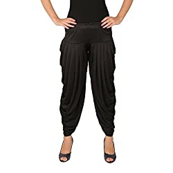 Several Side Pleats Style Dhoti Pant of Women - Culture the Dignity Womens Lycra Side Pleated Dhoti Patiala Salwar Harem Pant - Black, C_SP_DH_B