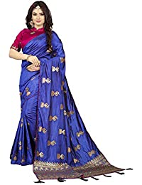 e191fca6c0517a Amrutam Women Blue Rajvadi Silk Saree With Unstitched Blouse Piece