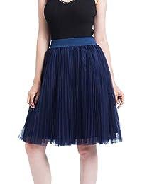 e3f87be61862 VEMOW Heißer 50er Elegante Damen Petticoat 4 Schichten Mesh Tüllrock  Plissee Prinzessin Rock Mesh Bubble Rock