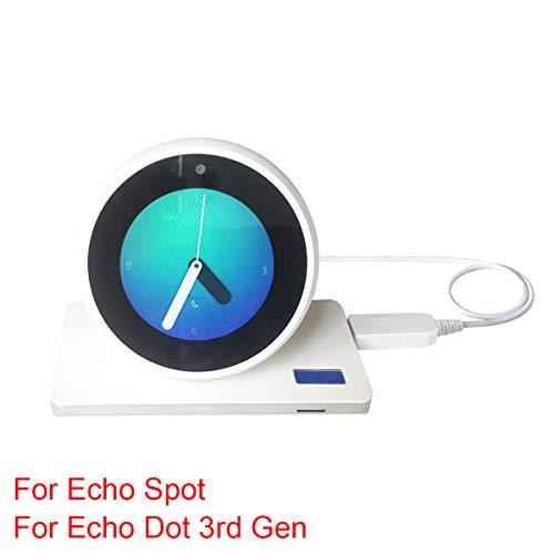MERES USB Ladungskabel Anschließen für Echo Spot/Echo Dot 3 Gen - USB 5V zu DC 12V Netzkabel Machen Die Spot Portable (weiß für Echo Spot)