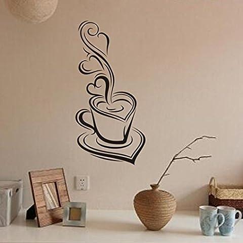 Longra Wandaufkleber Wandsticker Kaffee abnehmbare Abziehbild Art Vinyl Wandbild Home Zimmer Dekor Wandtattoo (A)