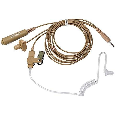 Beige Coodio 3,5mm Cuffia 2-Pin 3 Cavo Pro Microfono con Auricolare [Tubo Acustico] Headset la (Tactical Air Controllo)