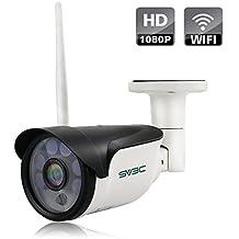 SV3C 1080P Cámara IP de Vigilancia WiFi de Exterior,Detección Movimiento,20M Visión Nocturna ,IP66 Impermeable,Soporta una tarjeta SD de máximo 64G, Soporta visionado remote mediante Phone,Pad,Windows