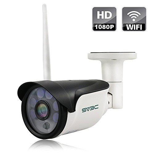 SV3C 1080p Wlan IP Kamera/HD Sicherheitskamera für Außen/IP überwachungskamera/IP cam mit LAN & Wlan/Wifi für Outdoor, Bewegungserkennung, 15m Nachtsichtfunktion, Slot für TF Karten mit max. 64GB und kompatibel mit Smartphones, Tablets und Windows PC (Heim-telefon-mit Wifi)