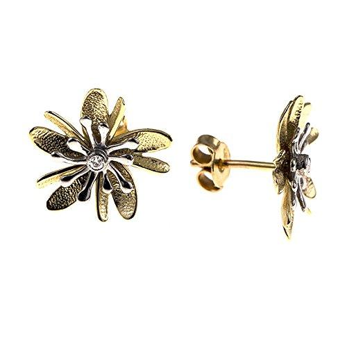 14ct Gelb Gold Weiß Ohrringe Blumen Satin 324310161Strukturierte 0,03DWT Diamant (14k Weiß-diamant-ohrringe)