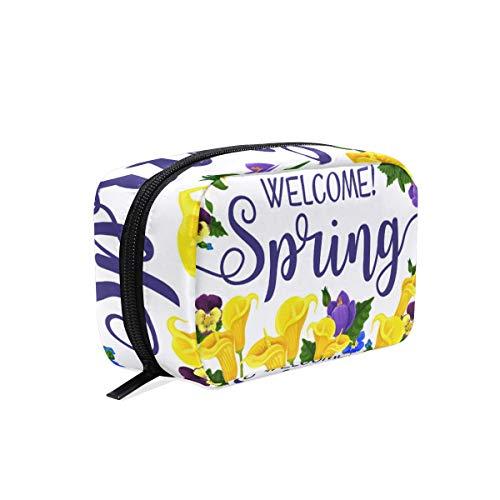 Mnsruu Make-up Taschen Reise Kosmetiktaschen Bürstenbeutel Kulturbeutel Waschbeutel für Frauen Mädchen Frühling Tulpen Rahmen