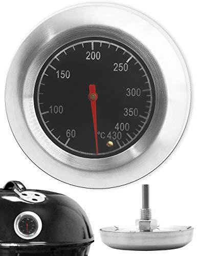 HomeTools.eu® - Temperatur-Beständiges, analoges BBQ Grill-Thermometer Koch-Thermometer, zum Nachrüsten für BBQ Smoker Grill Töpfe Bräter Räucher-Ofen, Ø 7.5cm, 10°C - 400 °C