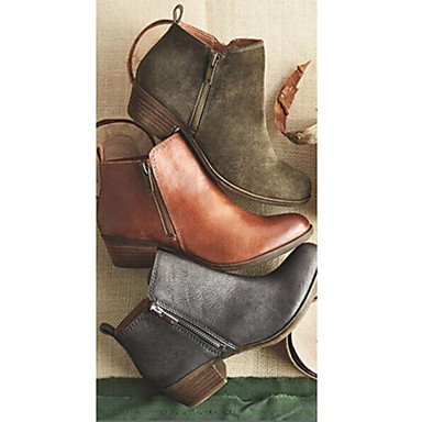 Rtry Femmes Chaussures Nubuck Cuir Automne Hiver Confort Nouveauté Mode Bootie Bottes Talon Plat Bottes Toe Booties / Bottines Zipper Pour Us8 / Eu39 / Uk6 / Cn39
