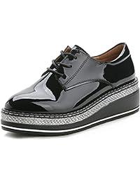 YORWOR Zapatos de Cordones Brogue Derby Mujer Cuña Oxford de Cuero Plataforma 5cm Negro Marrón Charol