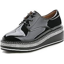 07f81a63d73 YORWOR Zapatos de Cordones Brogue Derby Mujer Cuña Oxford de Cuero  Plataforma 5cm Negro Marrón Charol