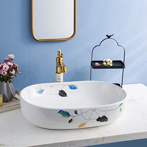 OHHG Waschbecken Weißes Keramikmuster Aufsatzwaschbecken zur Erhöhung des ovalen Waschbeckenwaschbeckens Badezimmerwaschbecken Art Basin Home G -