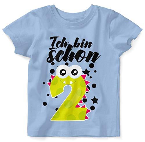 Mikalino Baby/Kinder T-Shirt mit Spruch für Jungen Mädchen Unisex Kurzarm Ich Bin Schon 2 | handbedruckt in Deutschland | Handmade with Love, Farbe:Sky, Grösse:92/98