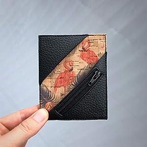 Kreditkartenetui Cardholder Geldbeutel Visitenkarten Etui tablet Kork Flamingo schwarz Münzfach RFID-secure…